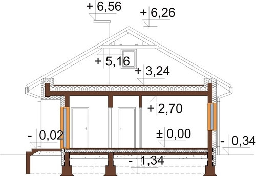 Projekt domu L-6637 - przekrój