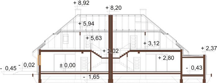 Projekt domu L-6540 - przekrój
