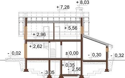Projekt domu L-6527 - przekrój