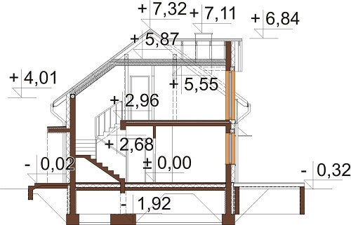 Projekt domu L-6529 - przekrój