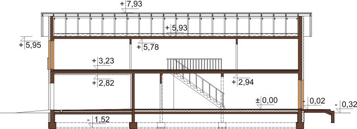 Projekt domu L-6597 - przekrój