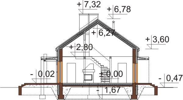 Projekt domu L-6620 - przekrój