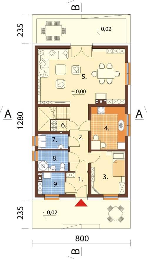 Projekt domu L-6624 - rzut