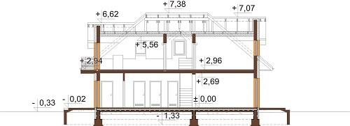 Projekt domu L-6624 - przekrój