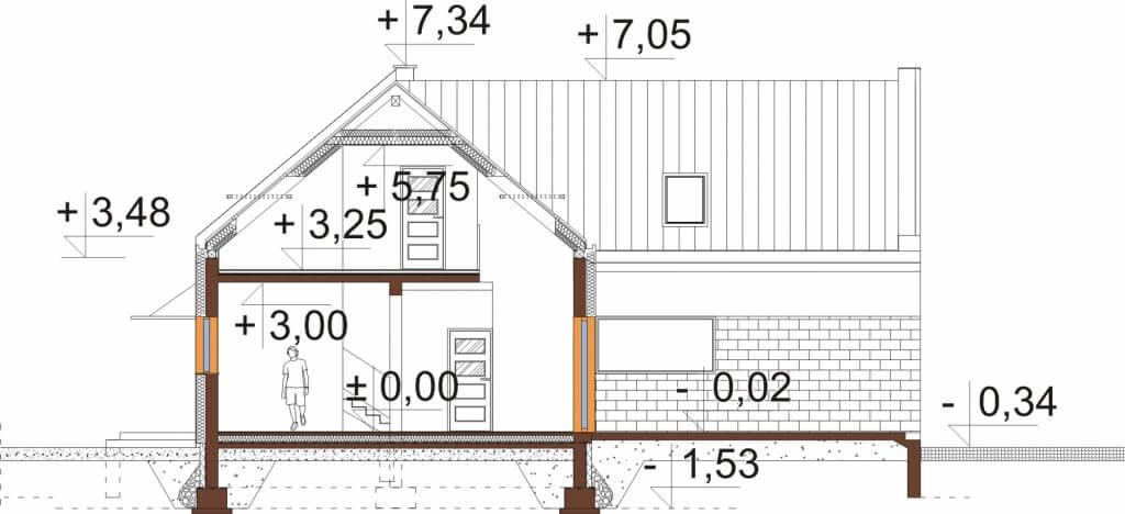 Projekt domu DM-6528 - przekrój