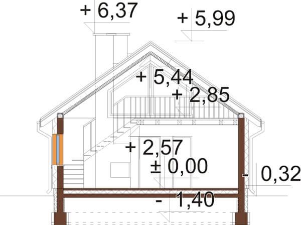 Projekt domu L-6596 B - przekrój