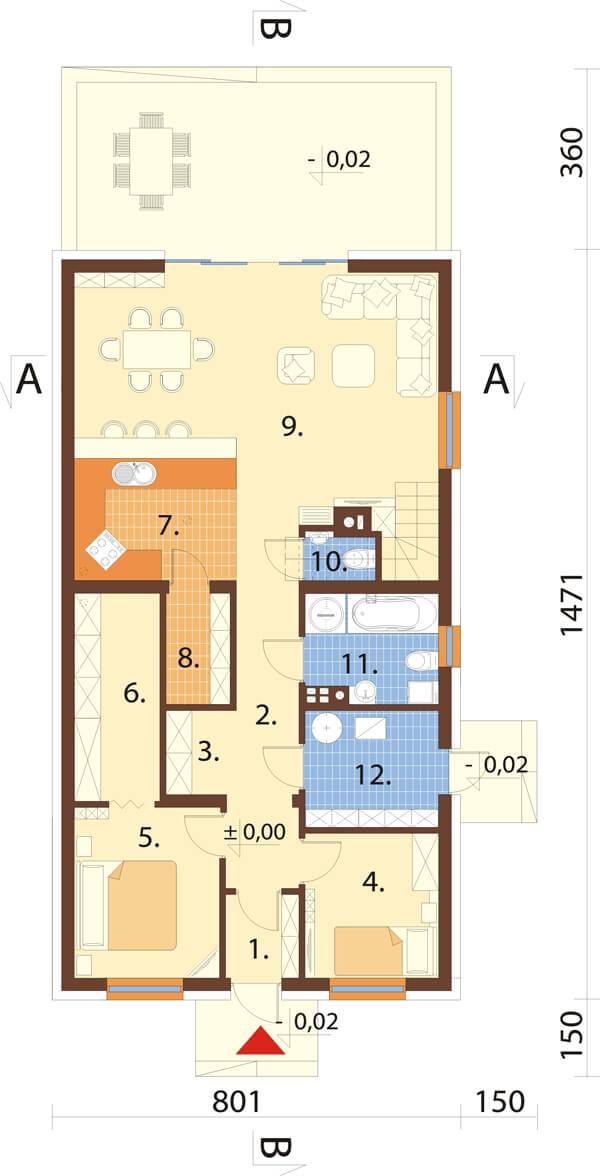 Projekt domu L-6596 B - rzut