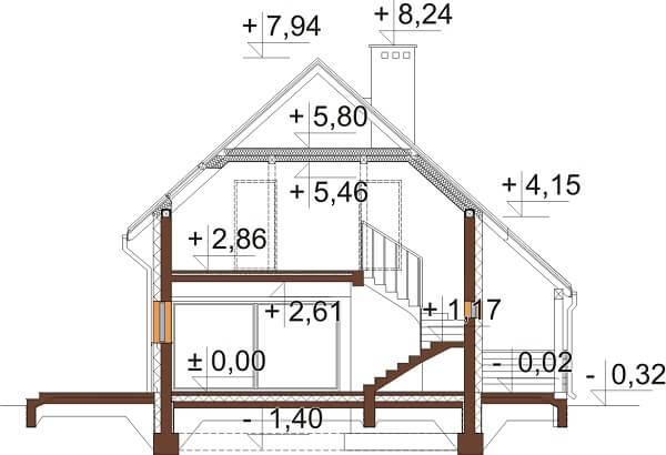 Projekt domu DM-6631 - przekrój