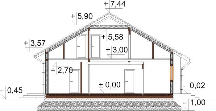 Projekt domu DM-6629 - przekrój