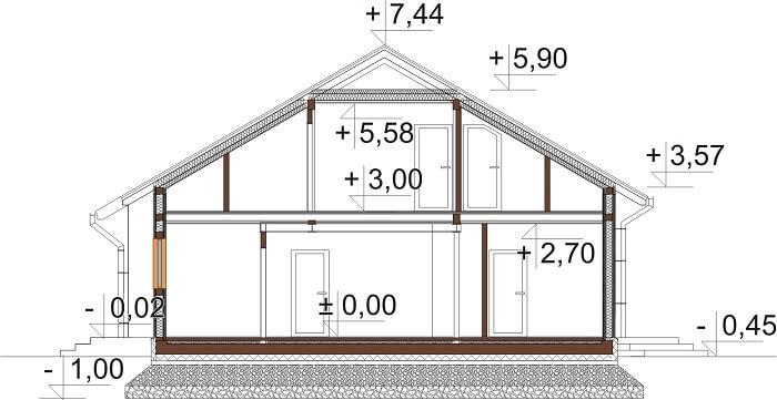 Projekt domu L-6629 - przekrój