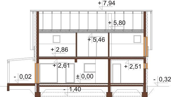 Projekt domu L-6631 - przekrój