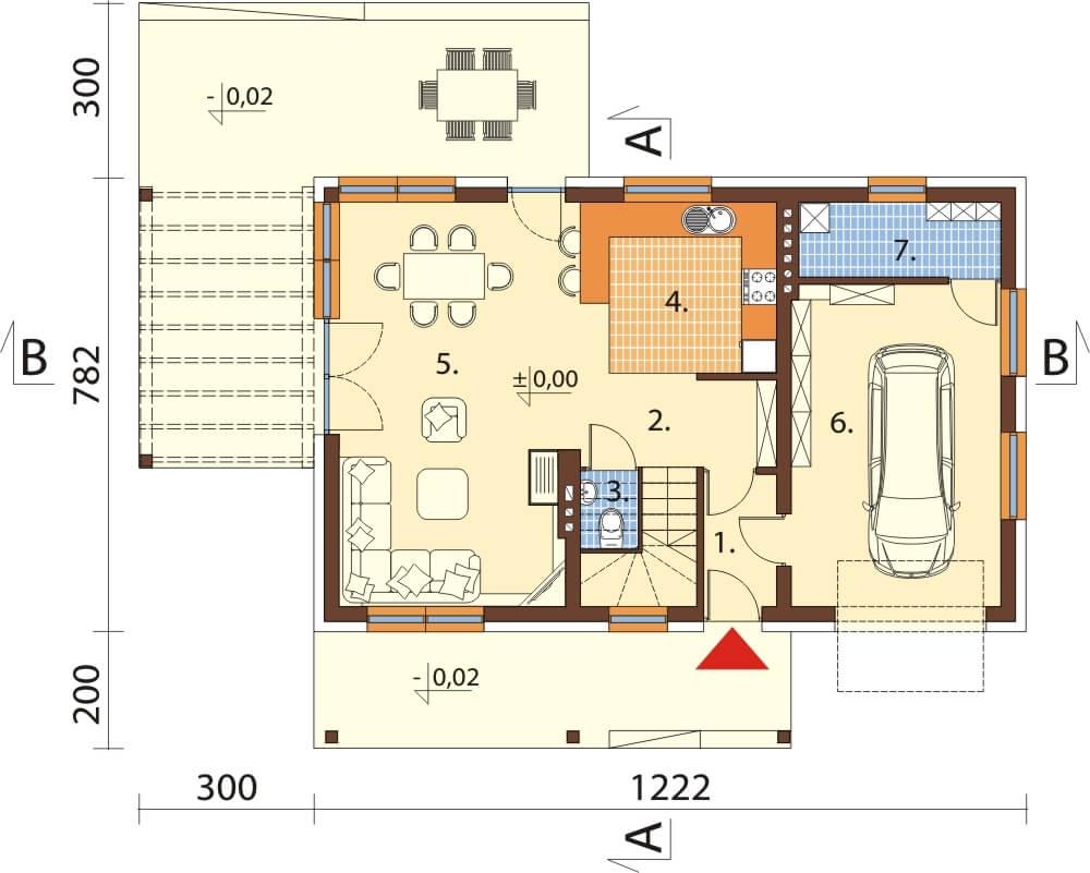 Projekt domu L-6631 - rzut