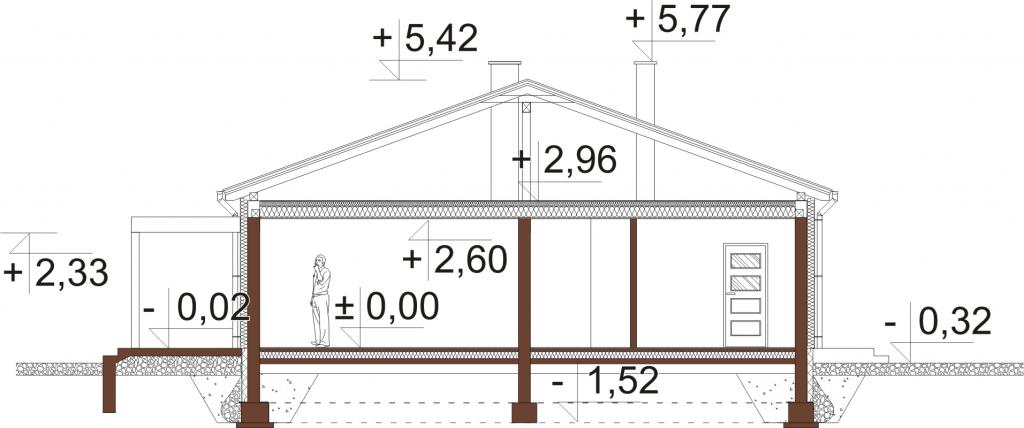 Projekt domu L-6639 - przekrój