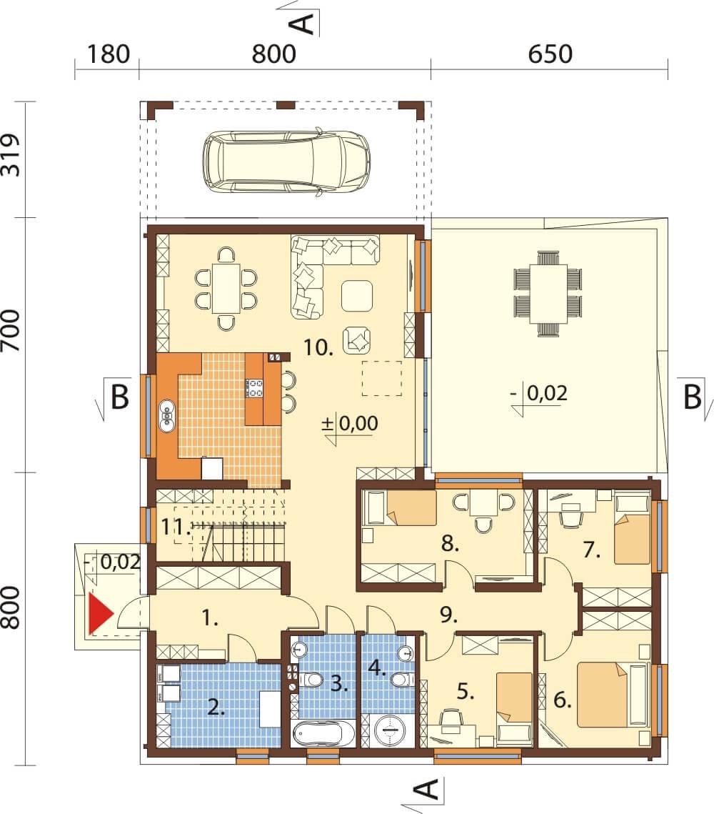 Projekt domu L-6528 - rzut