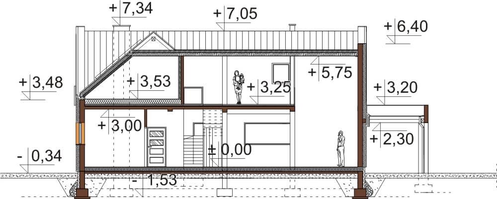 Projekt domu L-6528 - przekrój