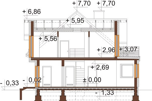 Projekt domu L-6618 - przekrój