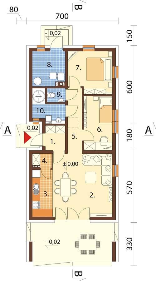 Projekt domu L-6622 - rzut