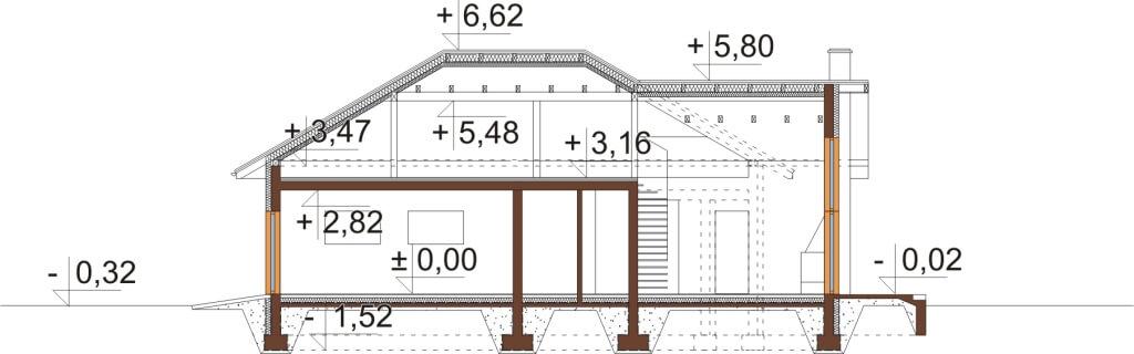 Projekt domu DM-6628 - przekrój
