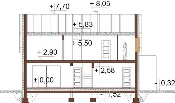 Projekt domu DM-6640 - przekrój