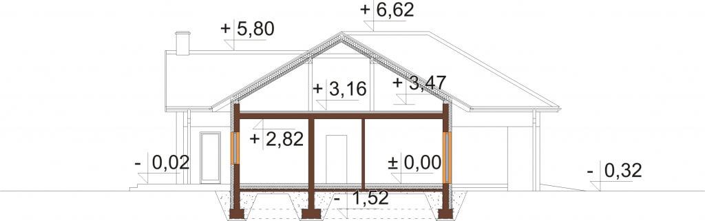 Projekt domu L-6628 - przekrój