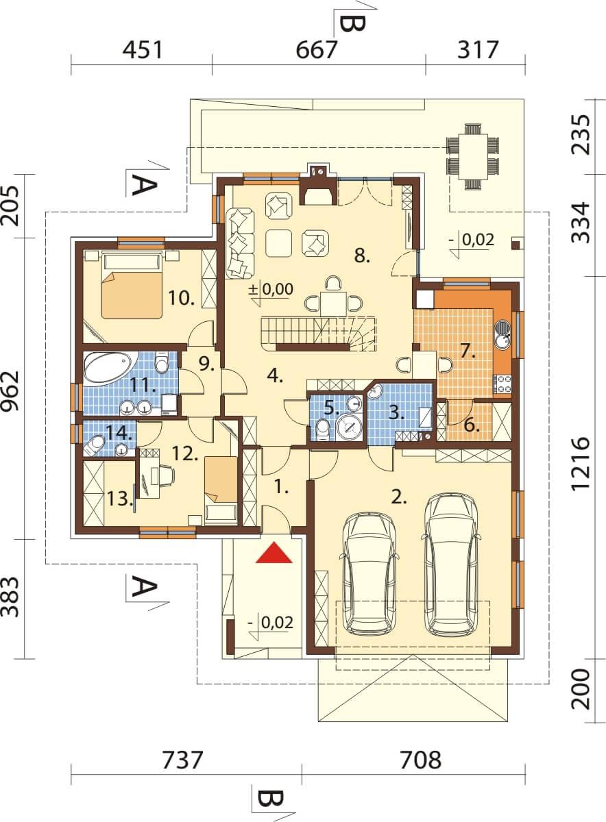 Projekt domu L-6628 - rzut