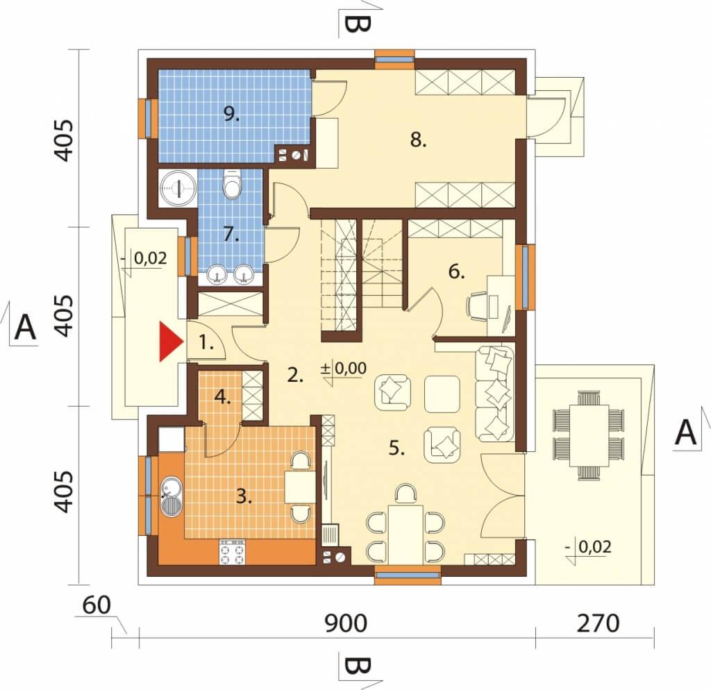 Projekt domu L-6630 - rzut