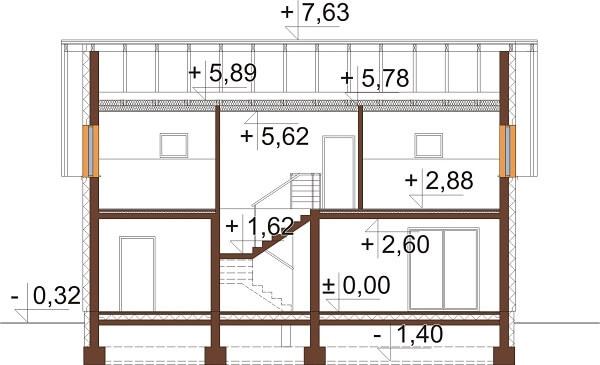 Projekt domu L-6630 - przekrój