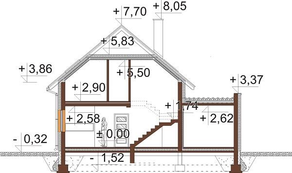 Projekt domu L-6640 - przekrój