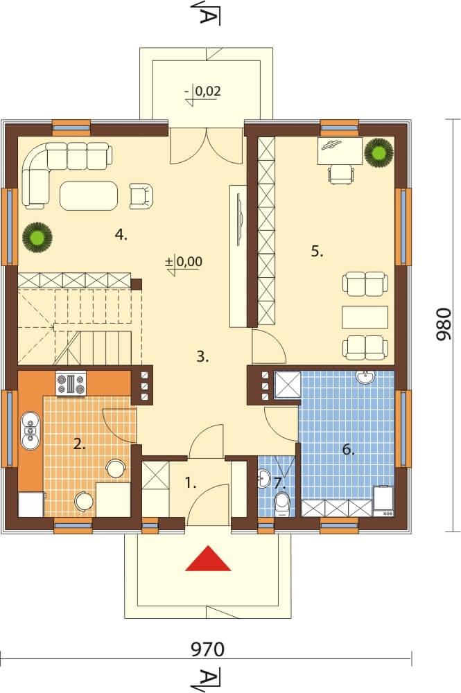 Projekt domu DM-6519 - rzut