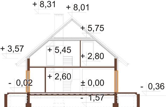 Projekt domu DM-6519 - przekrój