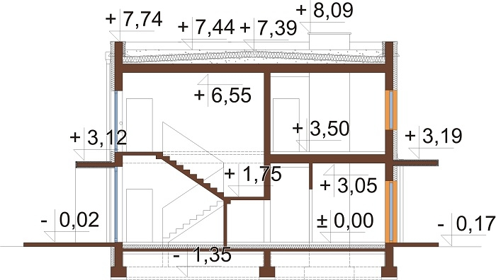 Projekt domu L-6589 - przekrój