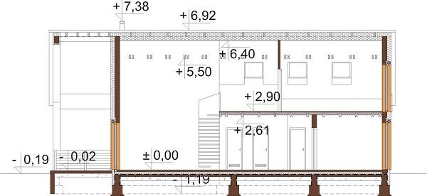 Projekt domu DM-6638 - przekrój
