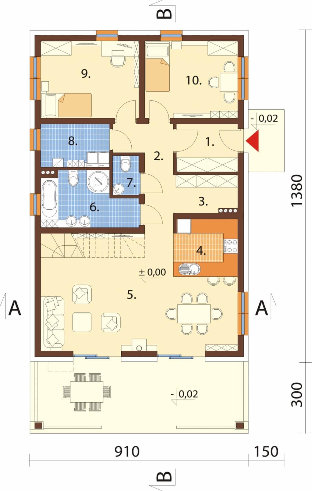 Projekt domu DM-6638 - rzut