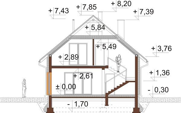 Projekt domu DM-6623 - przekrój