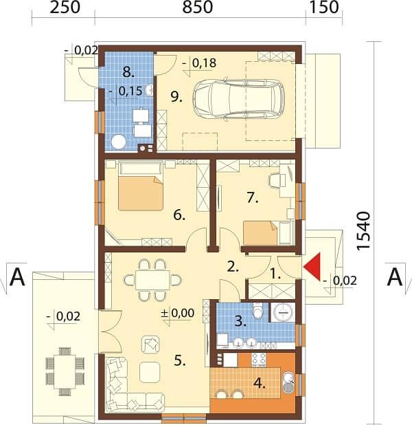 Projekt domu DM-6625 - rzut