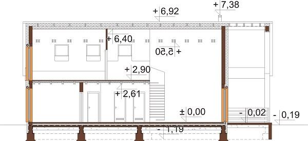Projekt domu L-6638 - przekrój