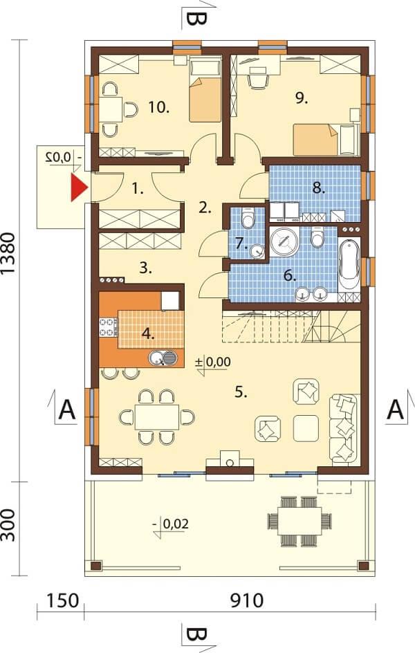 Projekt domu L-6638 - rzut