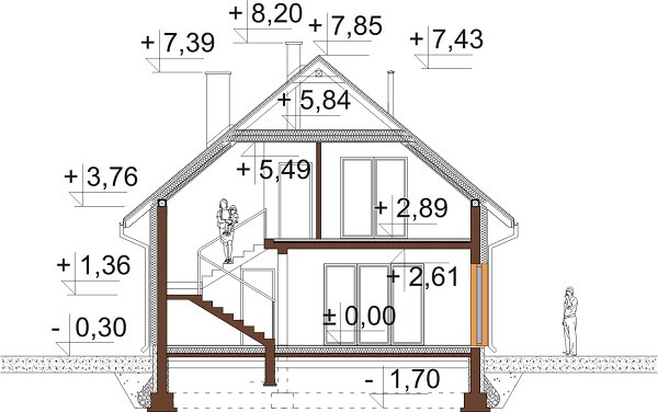 Projekt domu L-6623 - przekrój