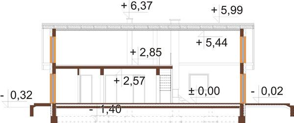 Projekt domu DM-6596 B - przekrój