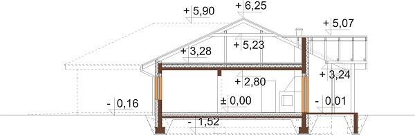 Projekt domu DM-6641 - przekrój