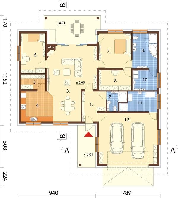 Projekt domu DM-6641 - rzut
