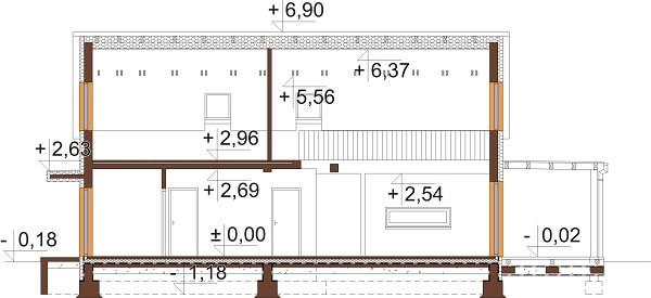 Projekt domu DM-6649 - przekrój