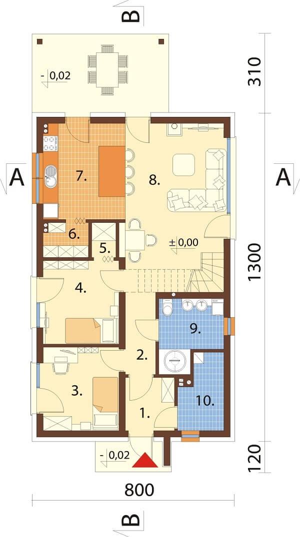 Projekt domu DM-6649 - rzut
