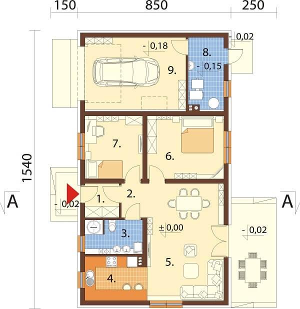 Projekt domu L-6625 - rzut