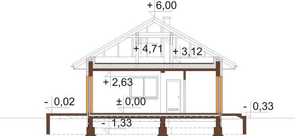 Projekt domu L-6625 - przekrój
