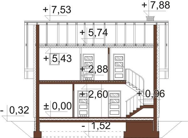 Projekt domu L-6642 - przekrój