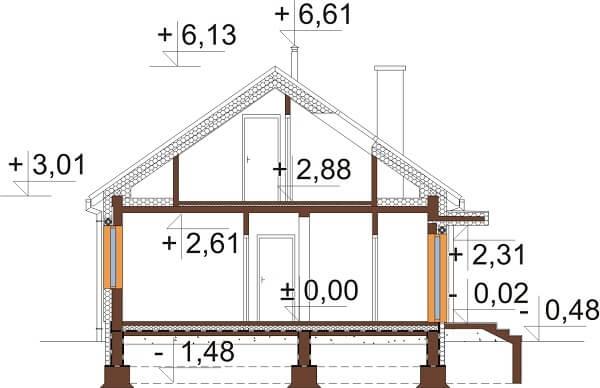 Projekt domu L-6645 - przekrój