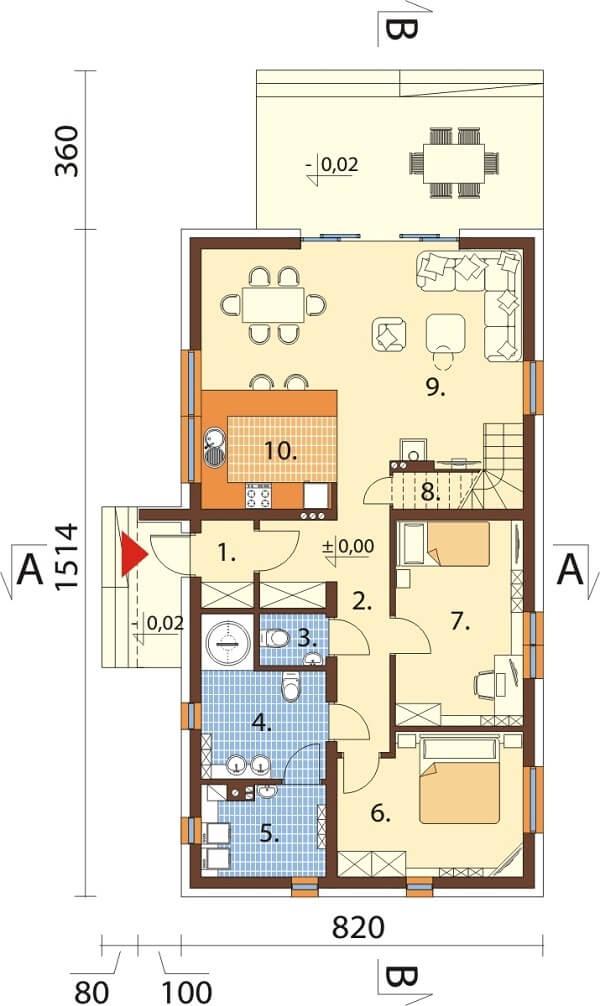 Projekt domu L-6645 - rzut
