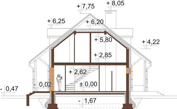 Projekt domu DM-6095B - przekrój