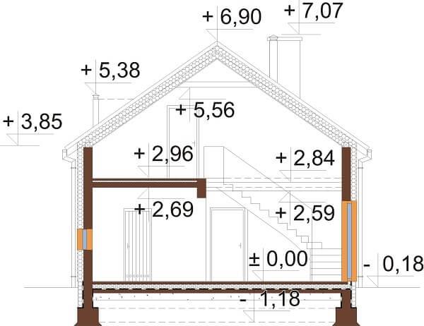 Projekt domu L-6649 - przekrój